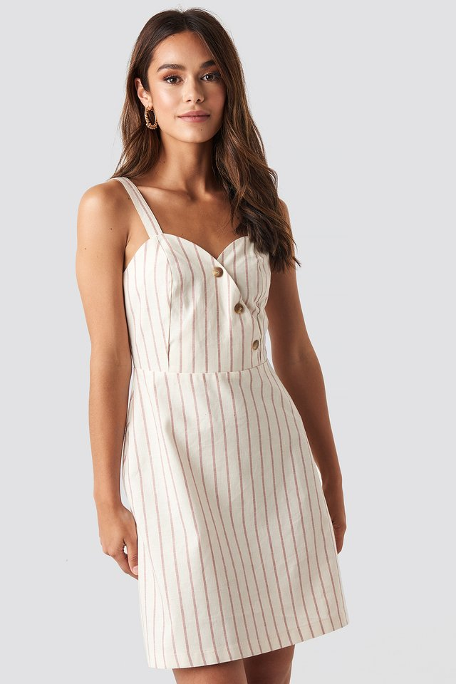 Striped Linen-Blend Mini Dress Red/White Stripe