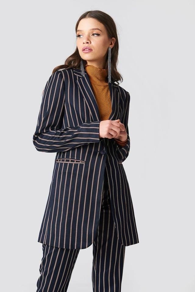 Striped Long Blazer Dark Navy
