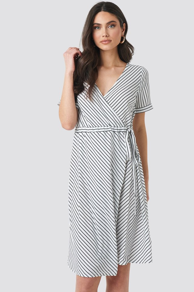 Striped Overlap Dress Black