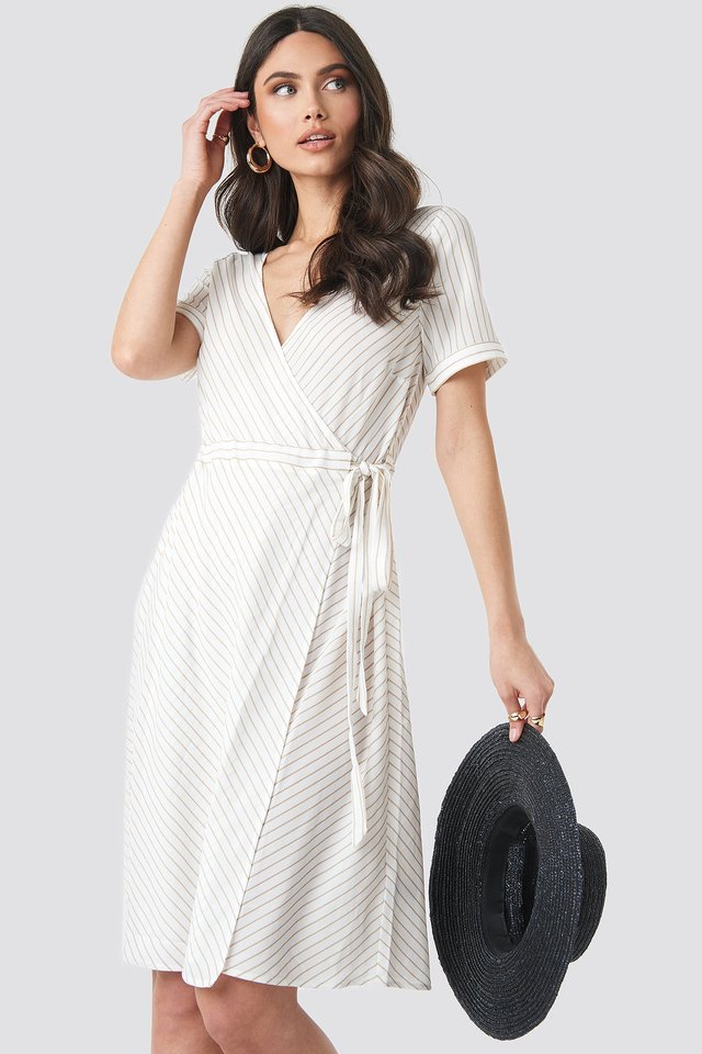 Striped Overlap Dress Beige