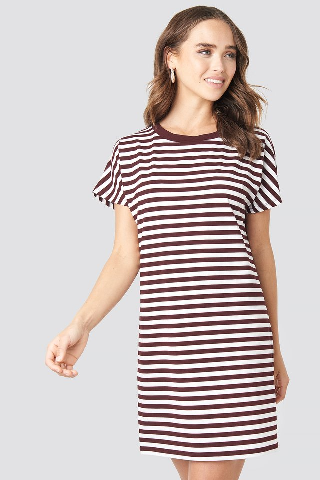 Striped Oversized T-shirt Dress Burgundy