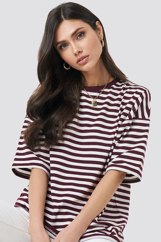 Striped Oversized Viscose Tee Burgundy
