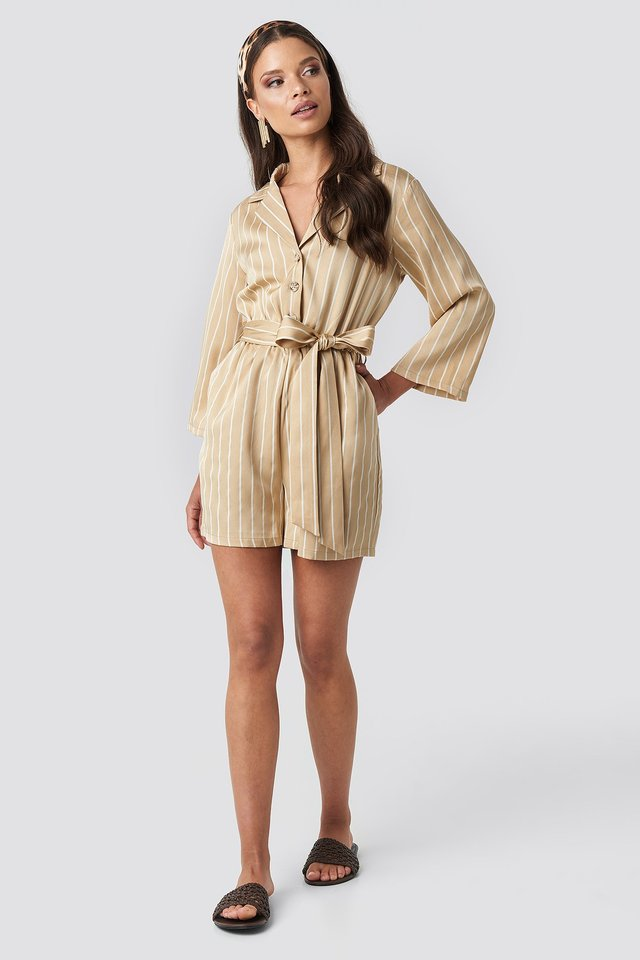 Striped Playsuit Beige