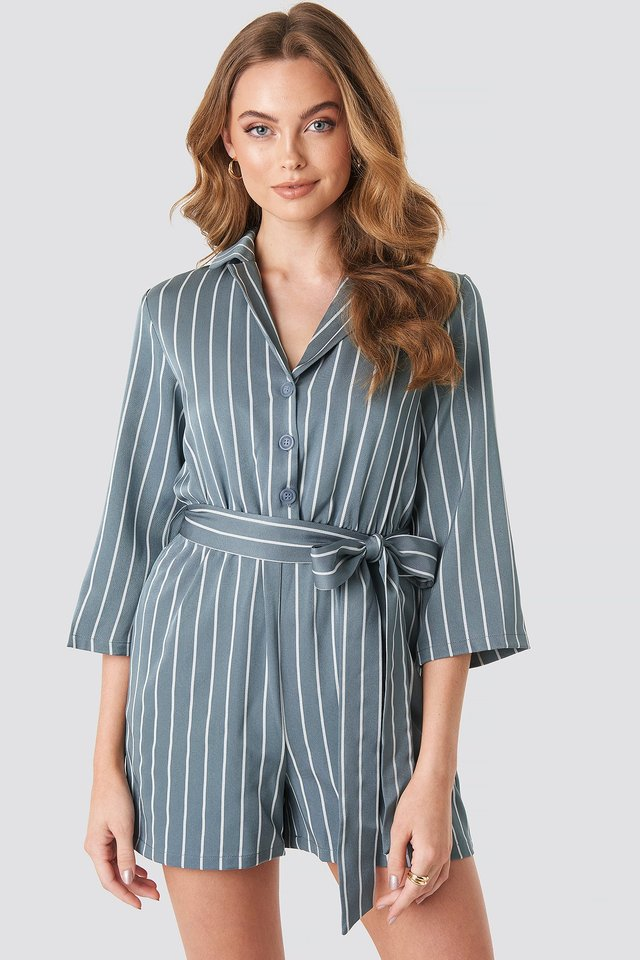 Striped Playsuit Stone Blue
