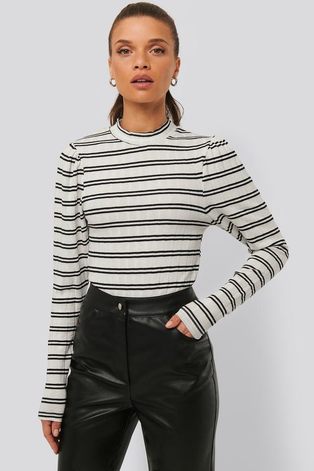 Gestreiftes Oberteil Mit Puffschultern Stripe Black/White