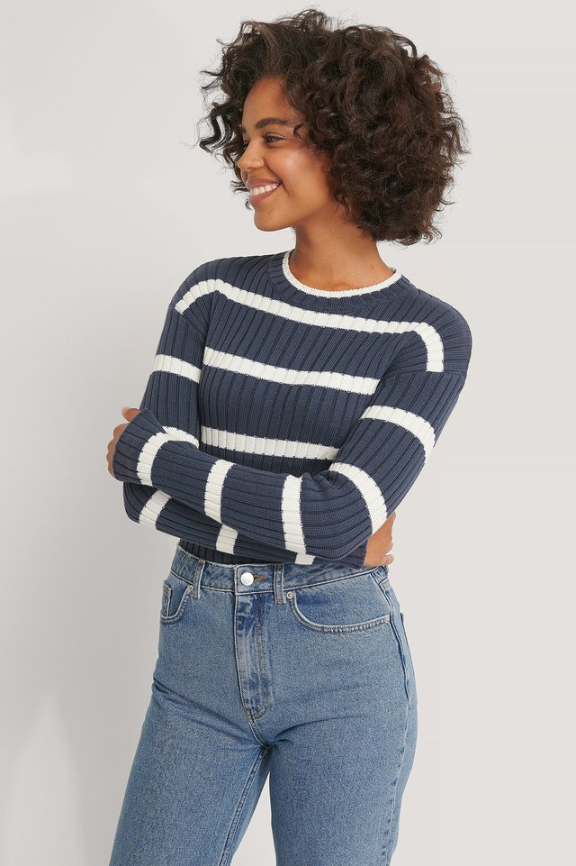 Striped Ribbed Knitted Sweater Navy/White