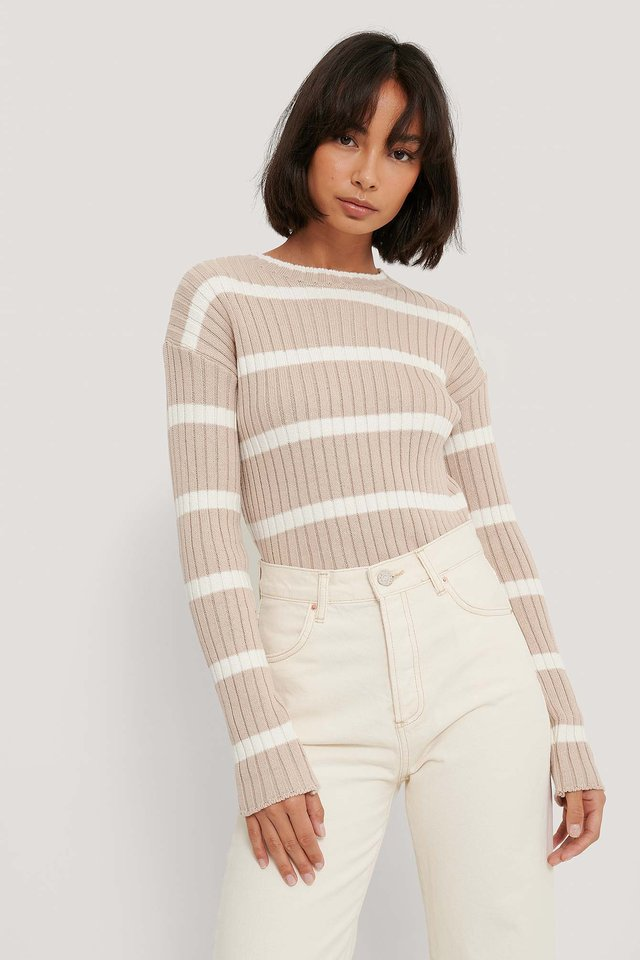 Striped Ribbed Knitted Sweater Beige/White