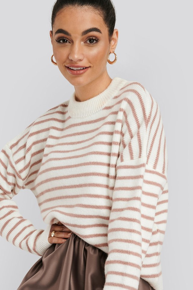 Striped Round Neck Knitted Sweater Pink/White