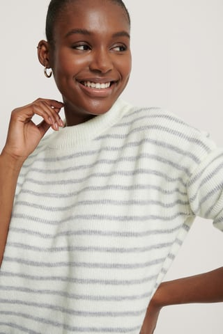 Grey/White Striped Round Neck Knitted Sweater