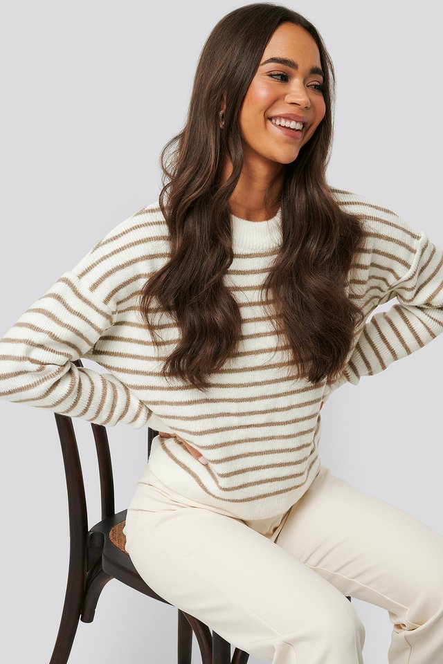 Beige/White Striped Round Neck Knitted Sweater