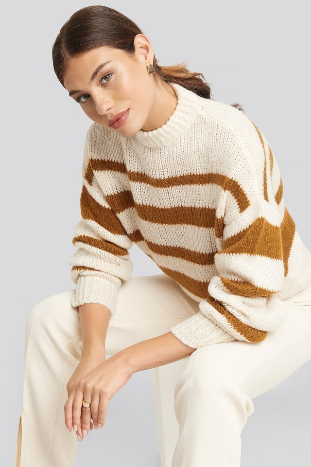Brown Striped Round Neck Oversized Knitted Sweater