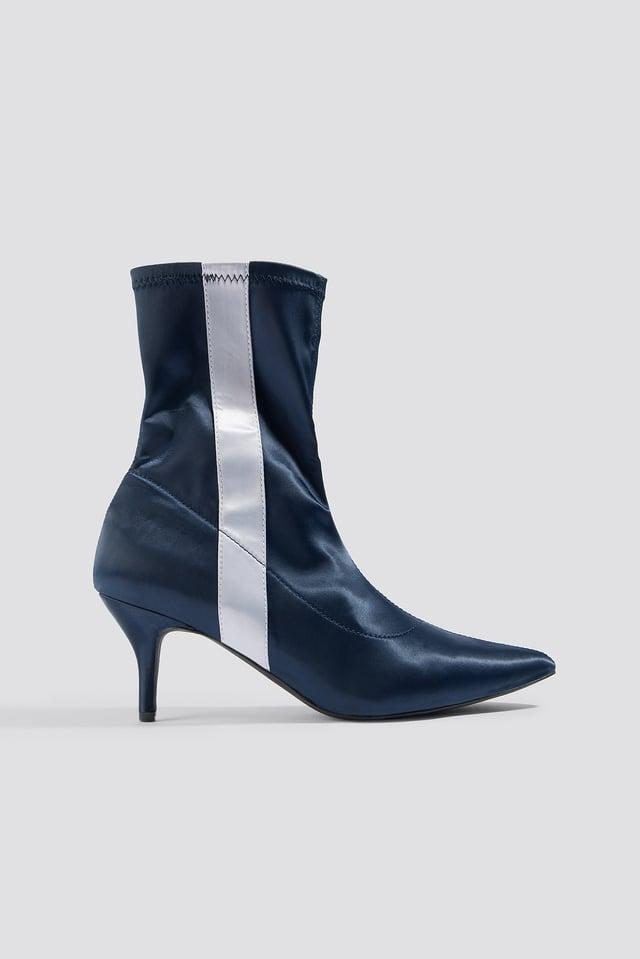 Striped Satin Sock Boots Dark Blue