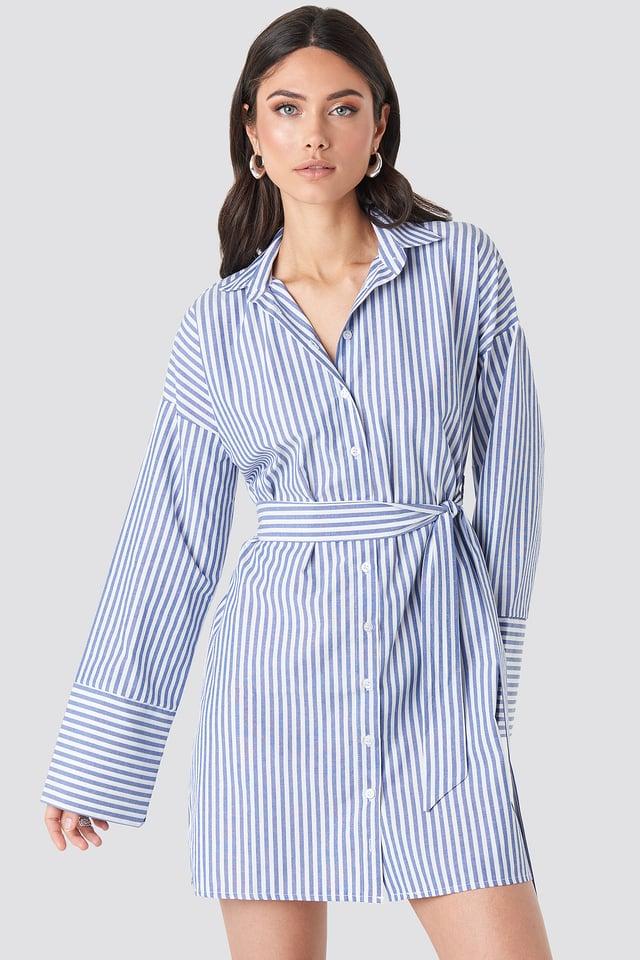 Striped Shirt Mini Dress Blue