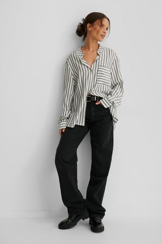 Black/White Stripe Striped Soft Shirt