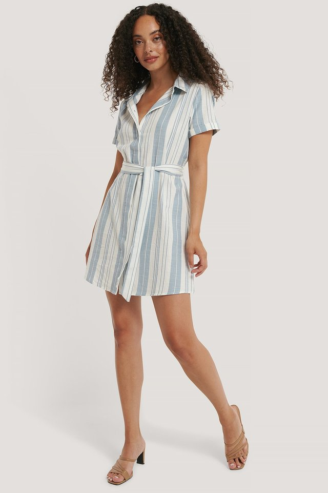 Striped Tie Waist Cotton Dress Blue/White Stripe
