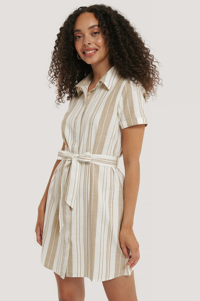 Striped Tie Waist Cotton Dress Beige/White Stripe