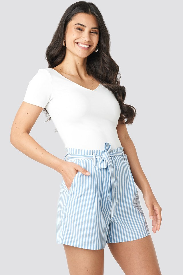 Striped Tied Waist Shorts Blue