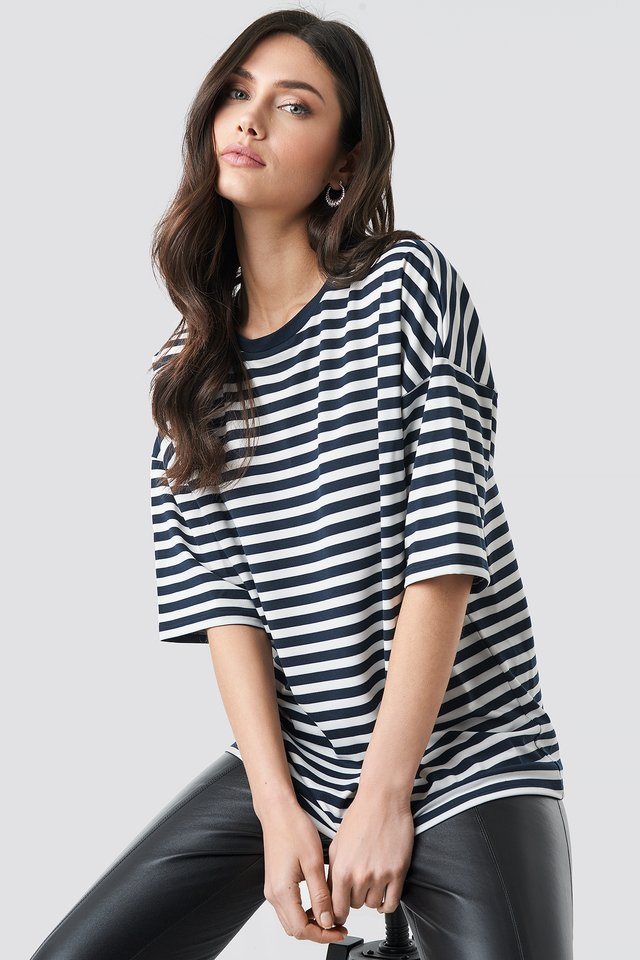 Striped Oversized Viscose Tee Navy