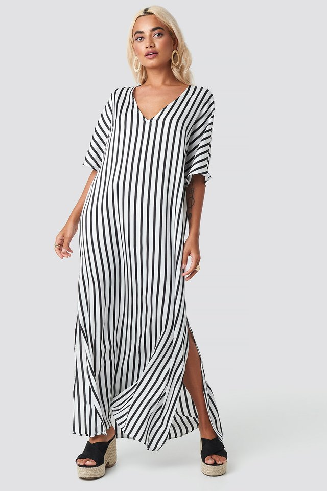 Striped V Neck Side Slit Dress Black/White Stripe