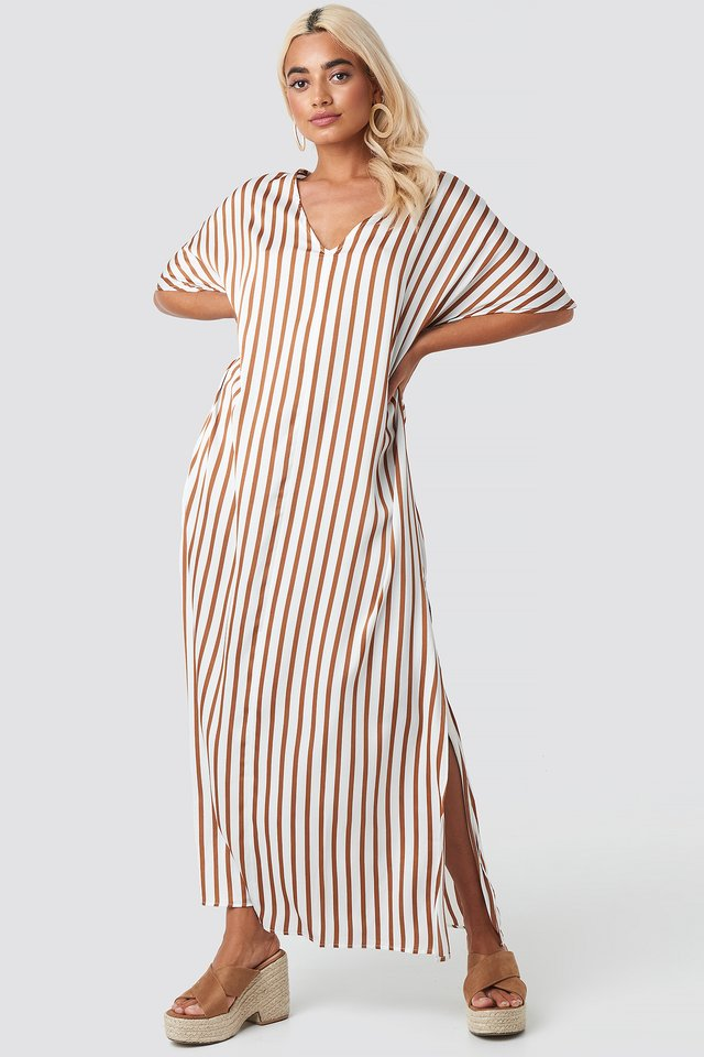 Striped V Neck Side Slit Dress White/Brown Stripe