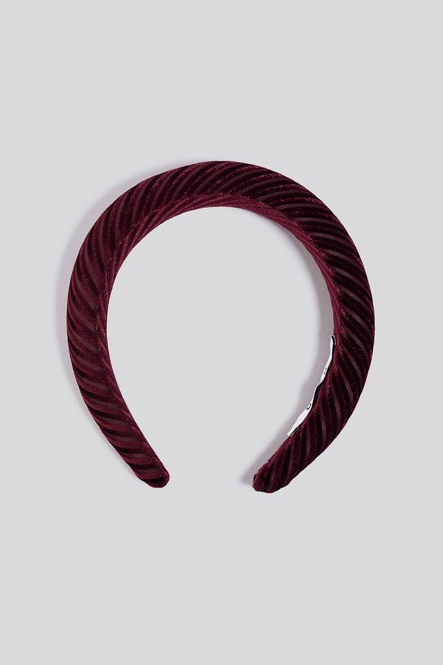 Striped Velvet Hairbands Burgundy