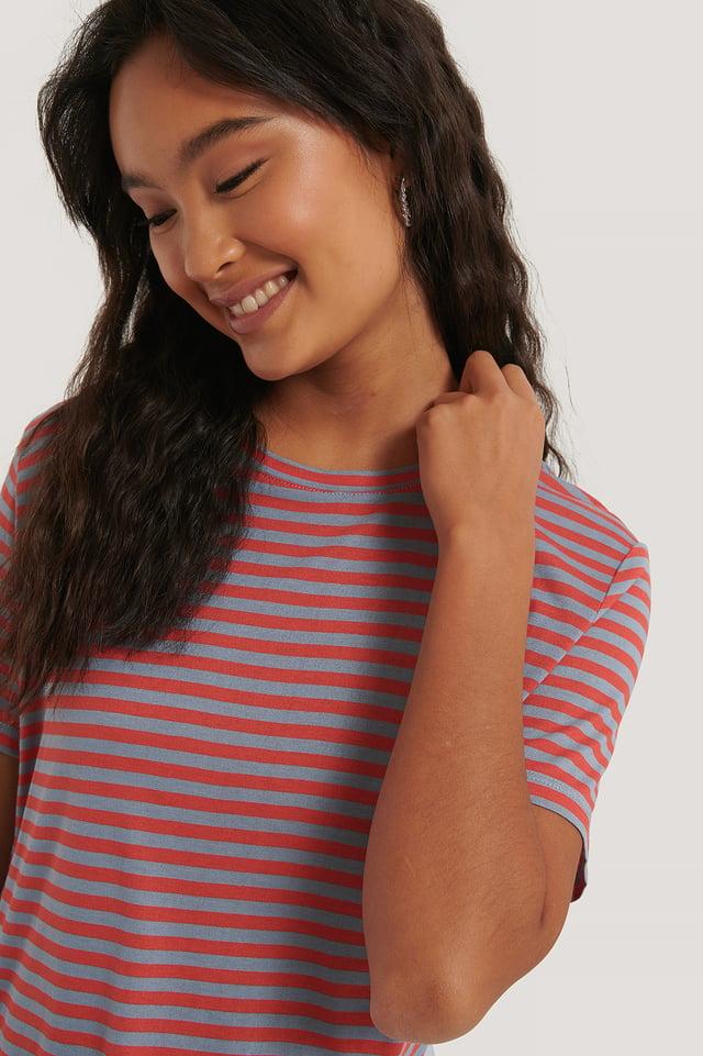 Red/Blue Stripe Striped Viscose Tee