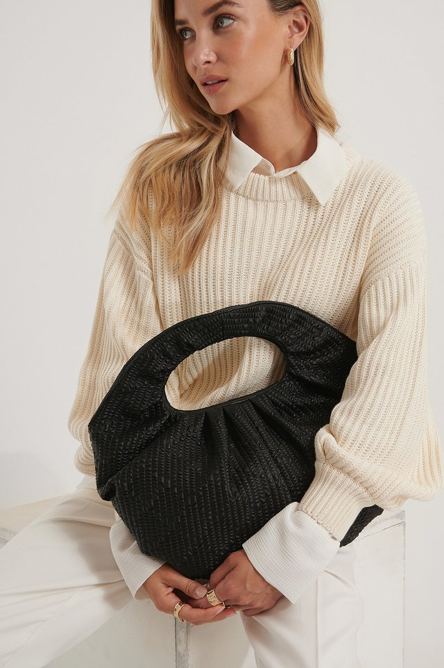 Black Structured Draped Round Bag