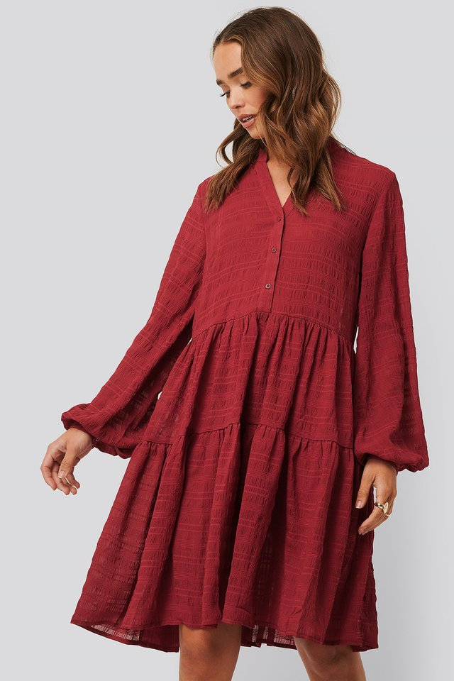 Structure A-Line Dress Dark Red