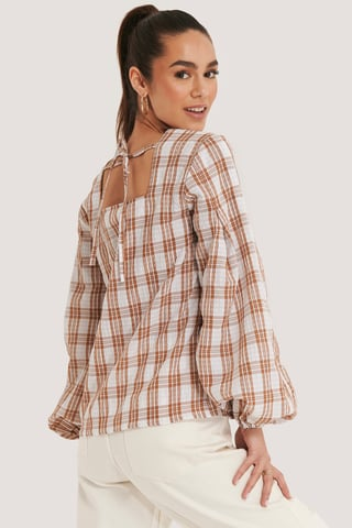 Pink/White Structure Check Blouse