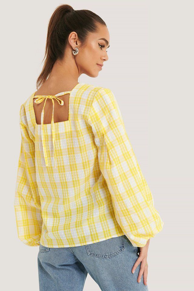 White/Yellow Structure Check Blouse