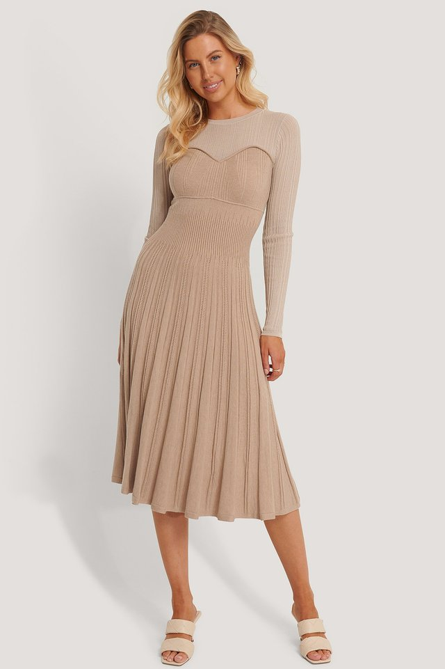 Beige Structure Knitted Dress