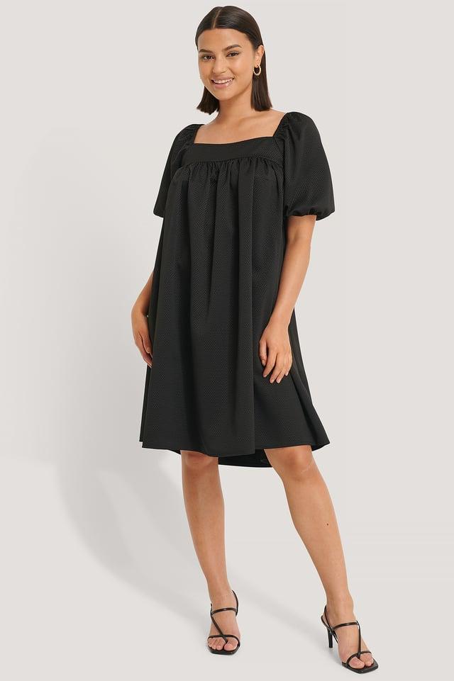 Black Structured Square Neck Dress