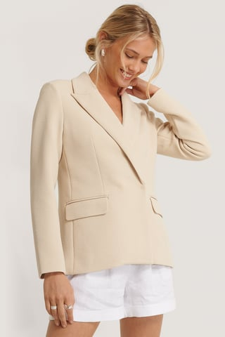 Cream Structured Asymmetric Blazer