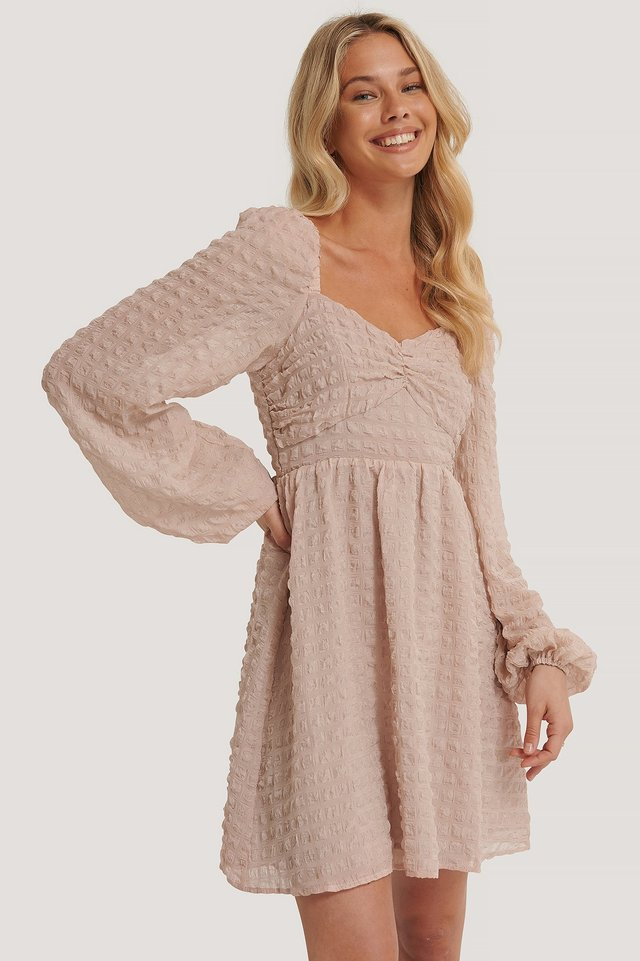 Structured Balloon Sleeve Mini Dress Dusty Pink