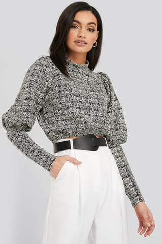 Black/White Structured Balloon Sleeve Sweater