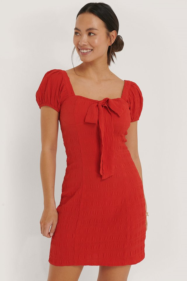 Structured Bow Dress Red