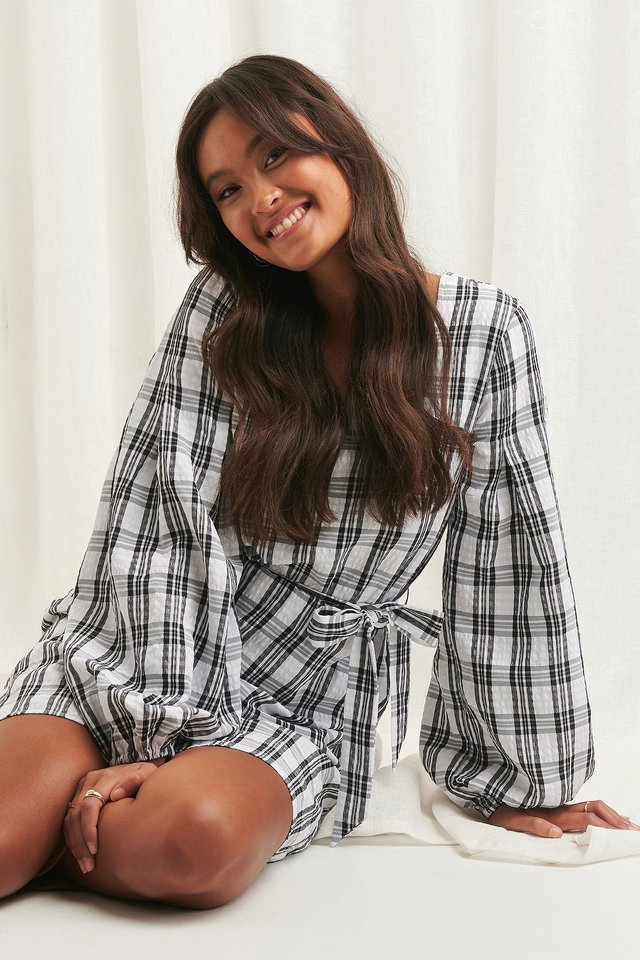 Structured Check Dress Black/White