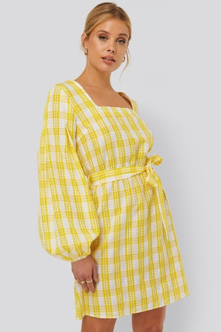 White/Yellow Structured Check Dress