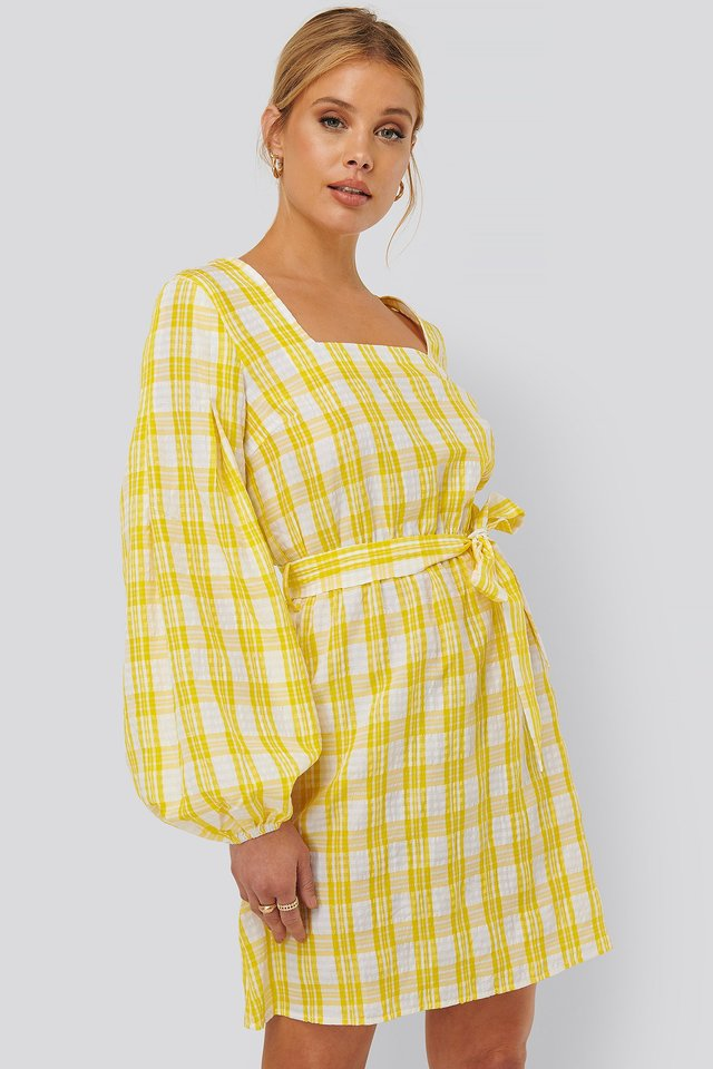 Structured Check Dress White/Yellow