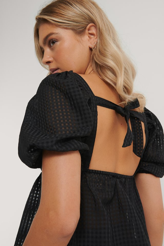 Structured Check Puff Blouse Black