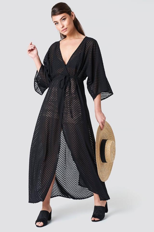 Structured Chiffon Coat Dress Black