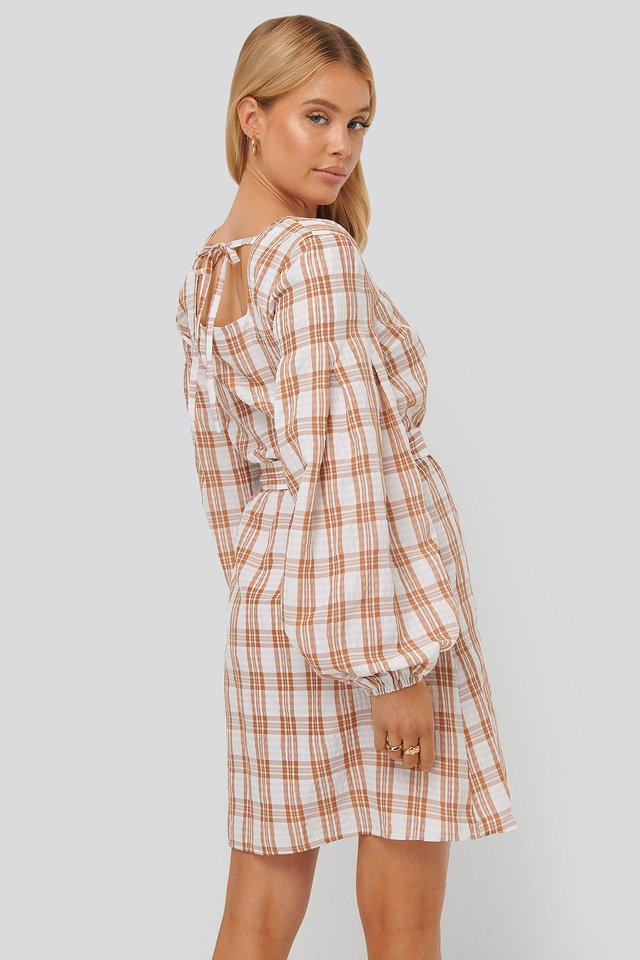 Structured Check Dress Pink/White