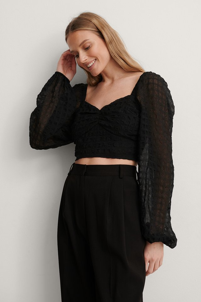 Black Structured Crop Blouse
