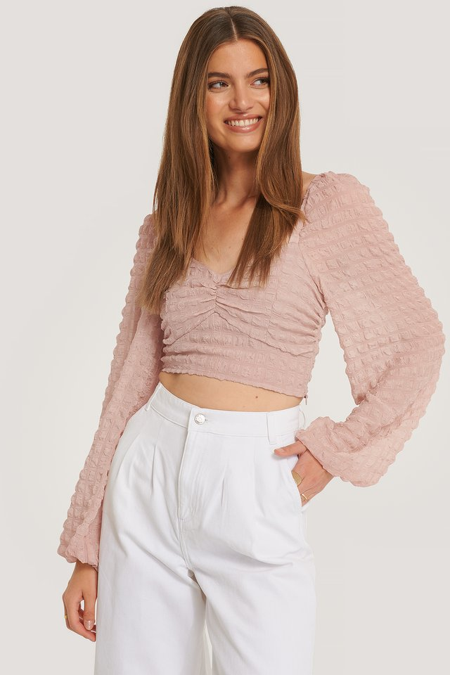 Structured Crop Blouse Dusty Pink