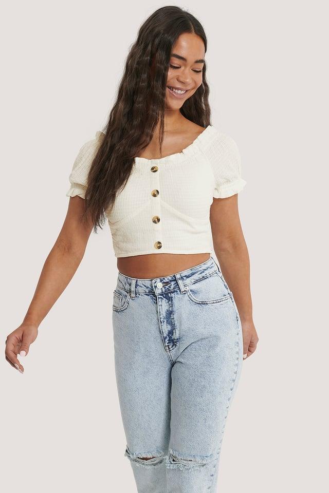 Beige Kurze Strukturierte Bluse