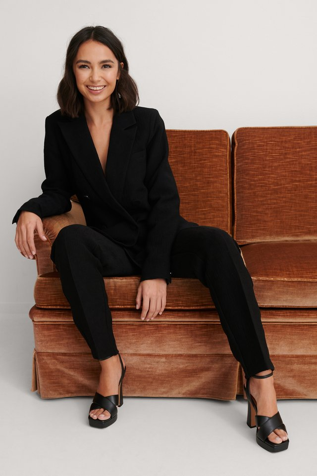 Black Structured Double Breasted Blazer