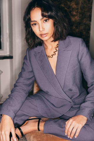 Purple Structured Double Breasted Blazer