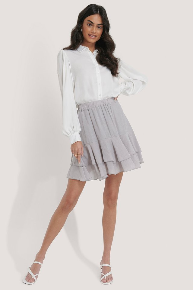 Structured Flounce Mini Skirt Light Grey