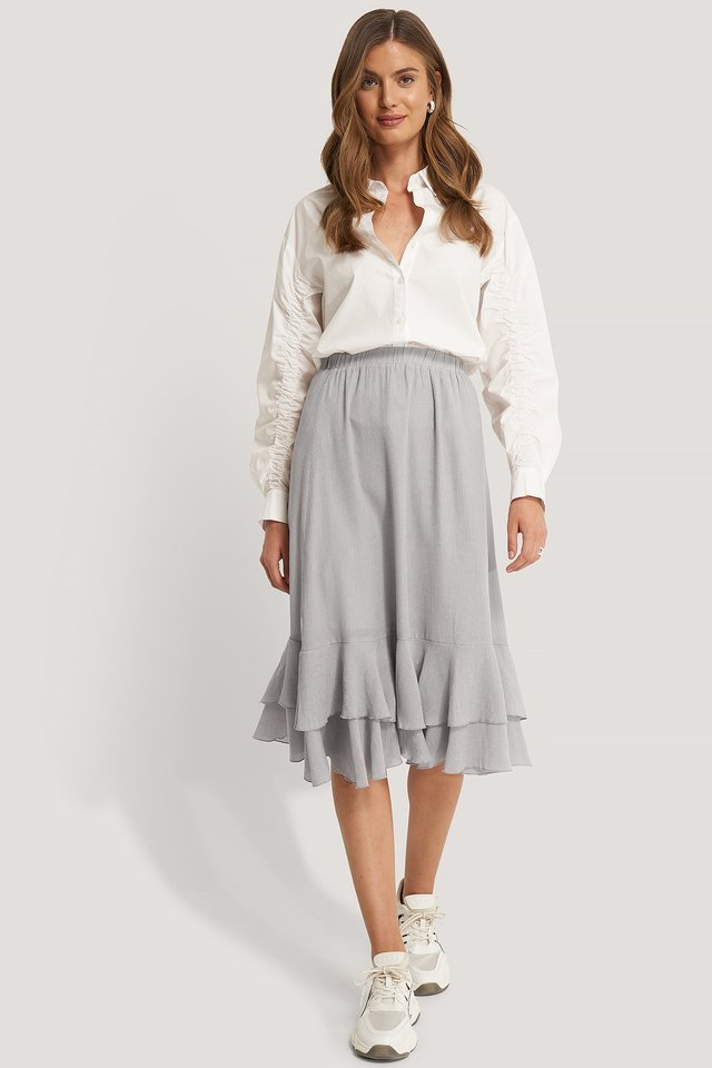 Structured Flounce Midi Skirt Light Grey