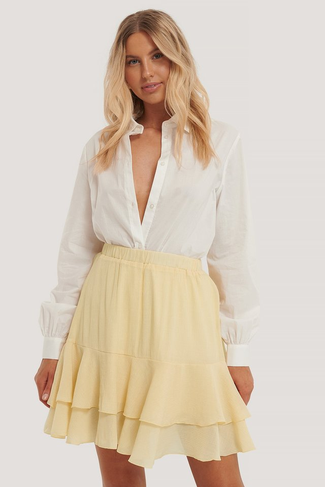 Structured Flounce Mini Skirt Dusty Yellow